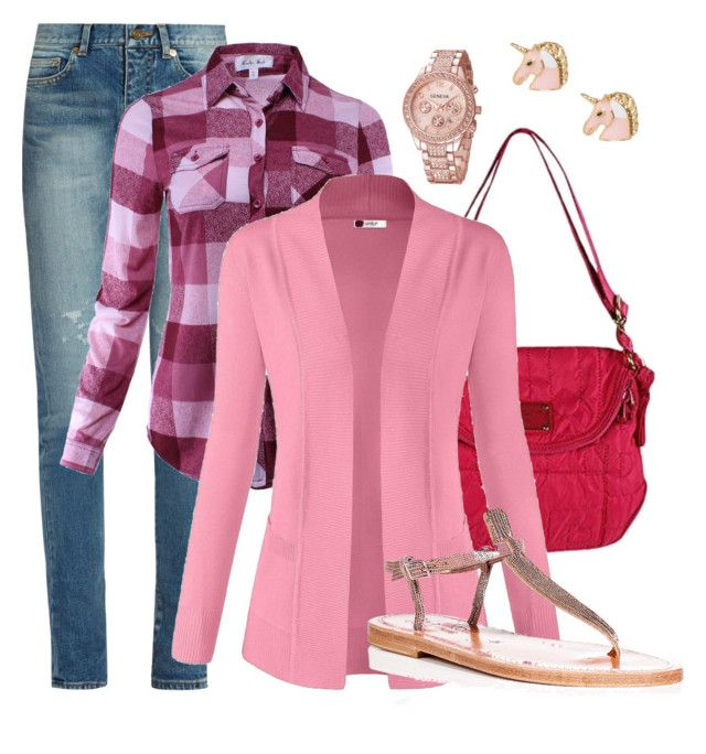 """""""Library Pink"""" by leslie-aaron on Polyvore featuring Yves Saint Laurent, Marc by Marc Jacobs and K. Jacques"""