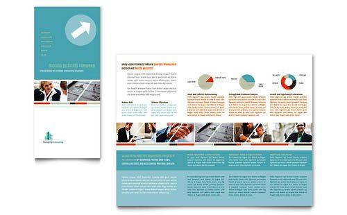 Contoh Pamflet Brosur Lipat Tiga Konsultan Manajemen Brochure - microsoft word pamphlet template