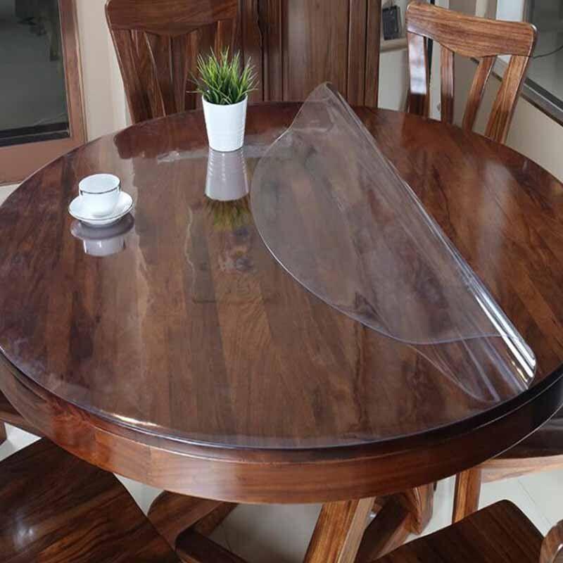 غطاء الطاولة مفرش المائدة المستديرة شفافة بولي كلوريد الفينيل مقاوم للماء النفط برهان الزجاج لينة القماش الم Table Cloth Kitchen Arrangement Cloth Table Covers