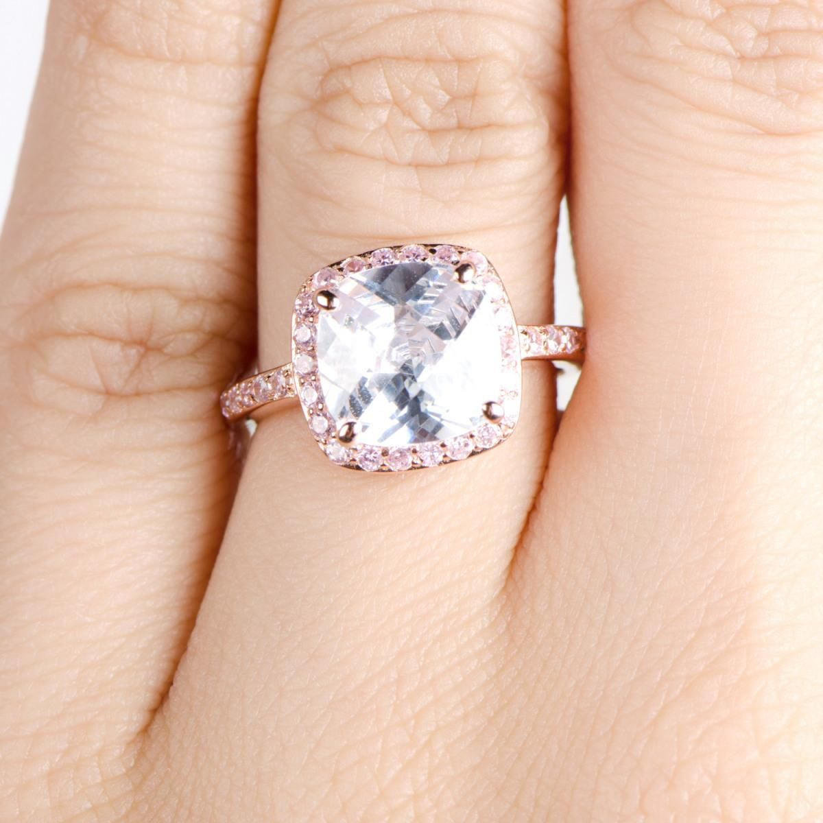 Cushion Cut Engagement Rings Rose Gold 13