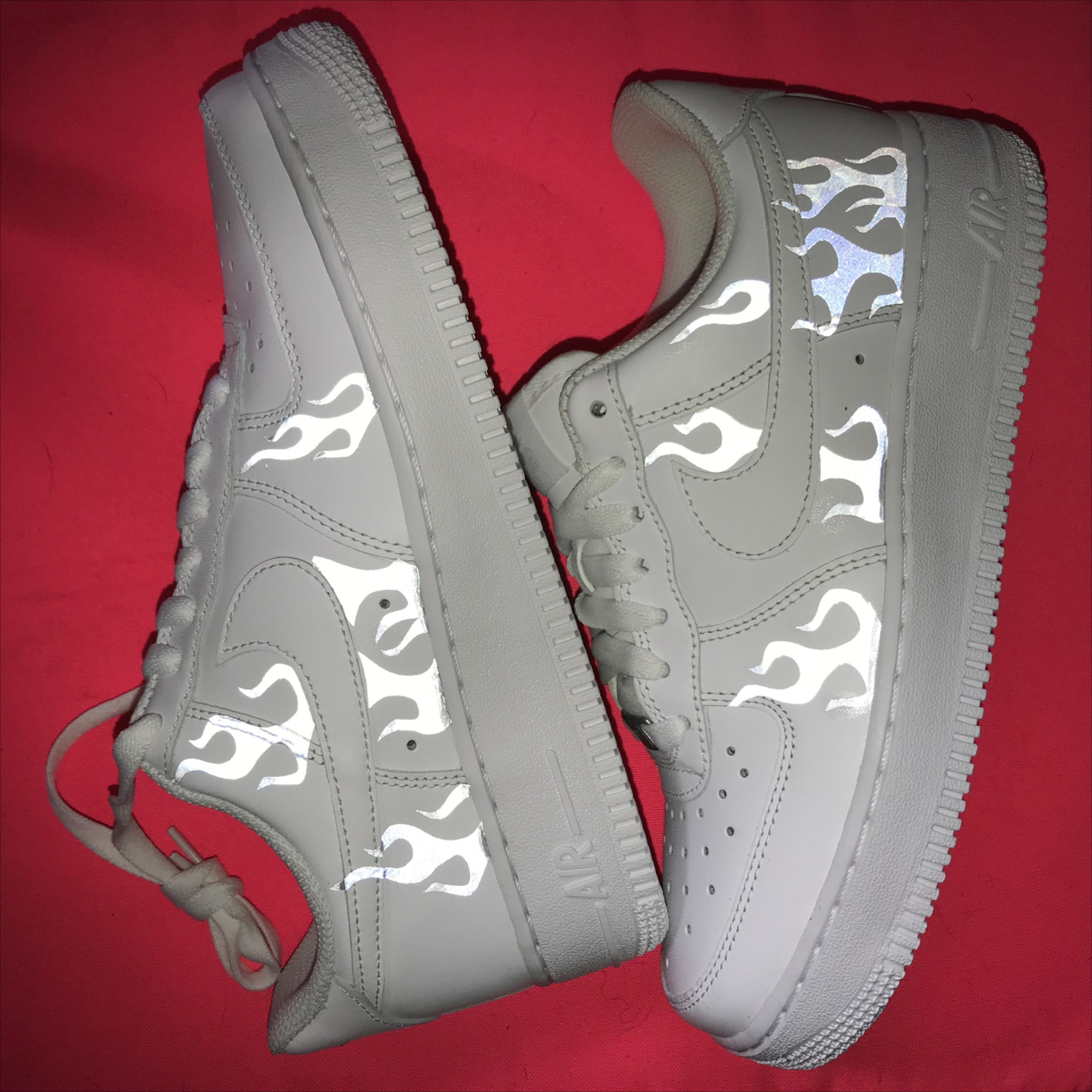 Reflective Flames Custom Air Force 1s Hype Shoes Air Force Nike Air Force Sneaker