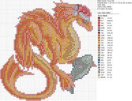 Cross-stitch Dragons by carand88...   Christmas Orange Dragon by carand88