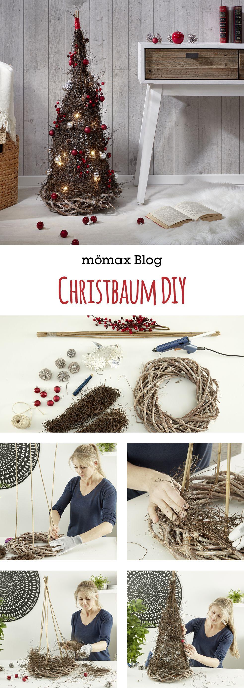 Christbaum  mit einem Kranz und Ästen selber machen! Anleitung am mömax Blog