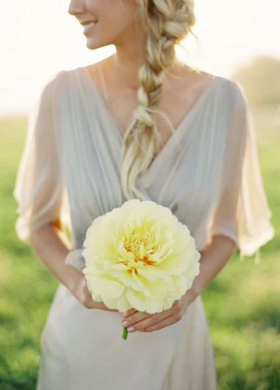 Featured Photographer: Jose Villa; Simple chic yellow wedding bouquet for the minimalist bride