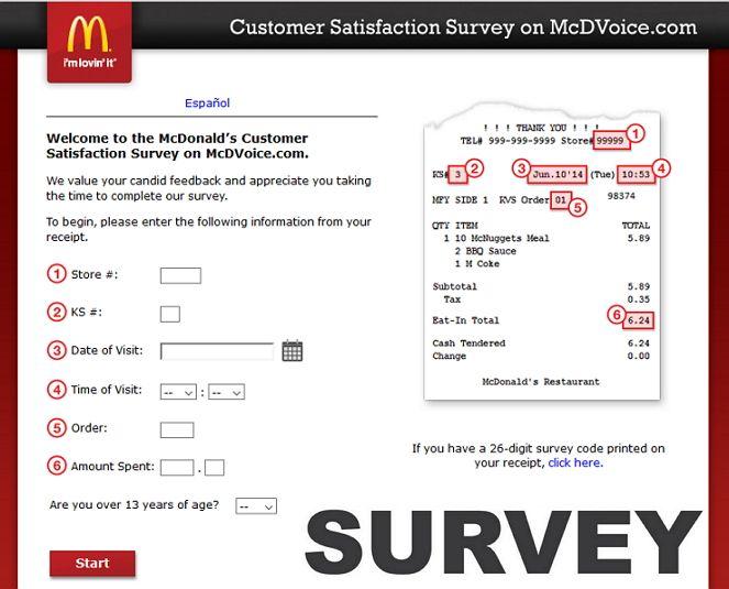 Mcdonalds customer satisfaction survey sweepstakes