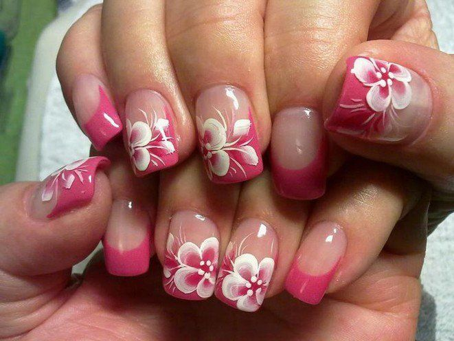 pink and white flower nail designs | Nail designs to try | Pinterest ...