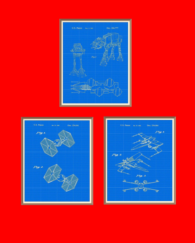 3 star wars patent prints 1980 1982 set on a vintage blue 3 star wars patent prints 1980 1982 set on a vintage blue blueprint background malvernweather Gallery