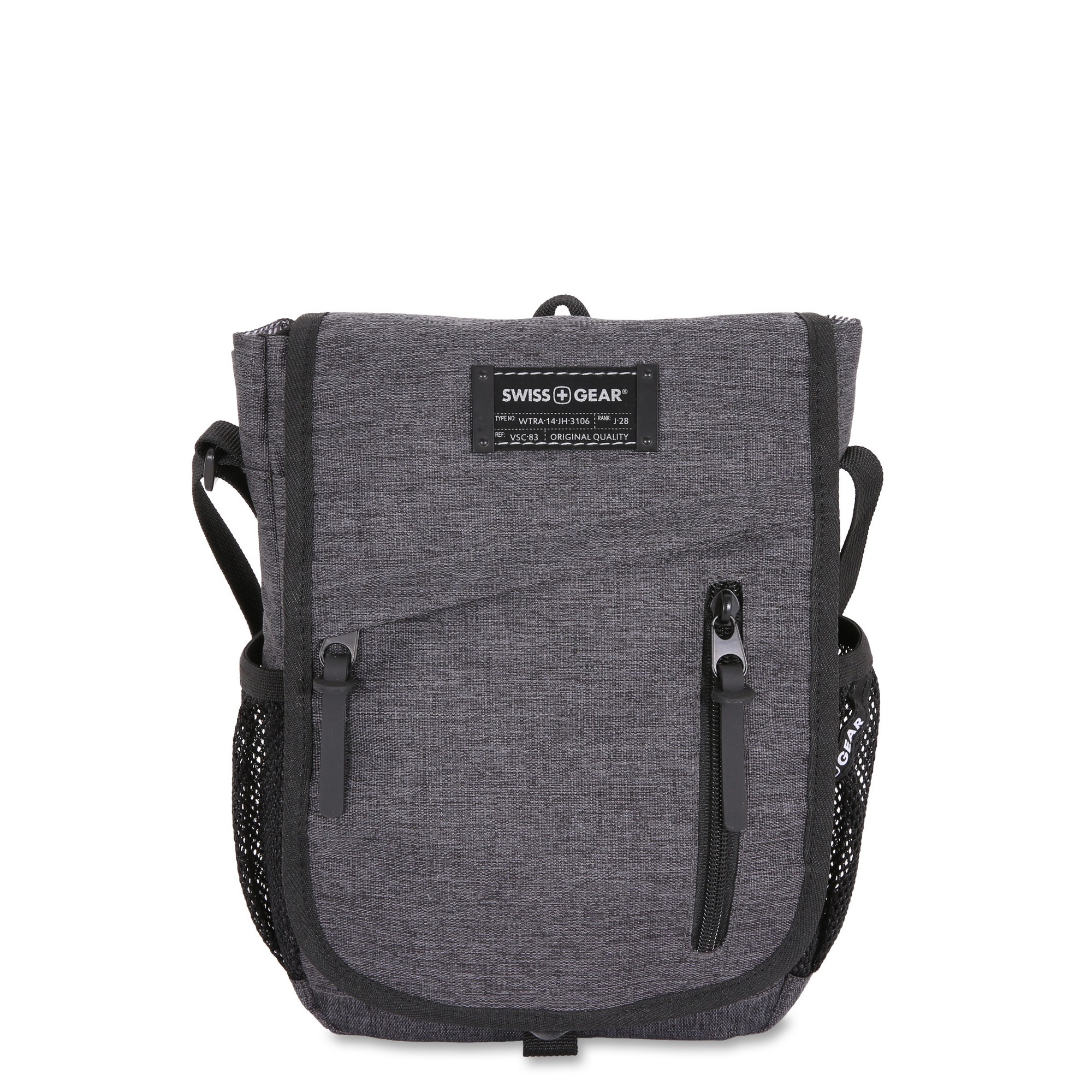 Mens Grey Heather Shoulder Messenger Travel Bag