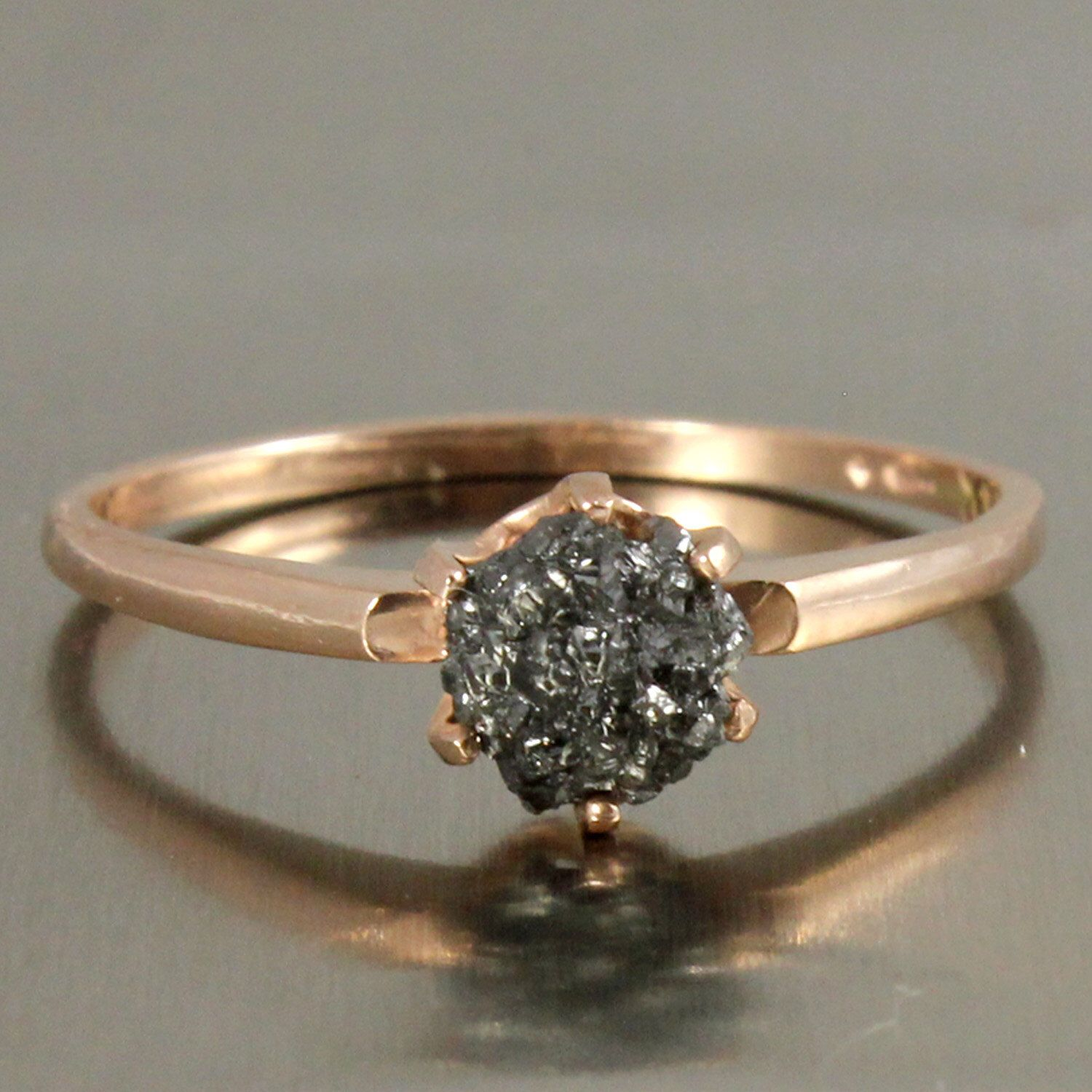 14k Rose Gold Solitaire Ring With Raw Rough Diamond  Black Rough Uncut  Diamond  Classic Engagement Ring  Promise Ring  April Birthstone