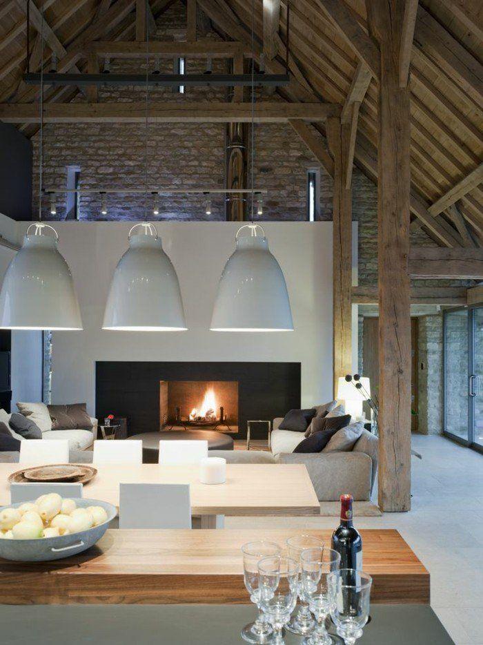 Mille et une id es pour le salon style industriel en 44 photos voyez les der - Deco cheminee interieur ...