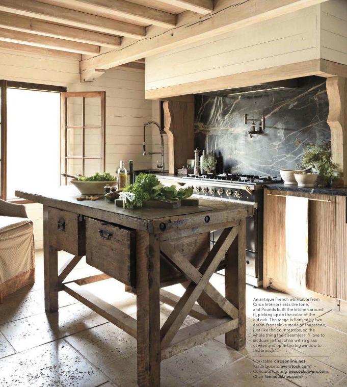 Antique french work table for the kitchen for Decoracion de casas acogedoras
