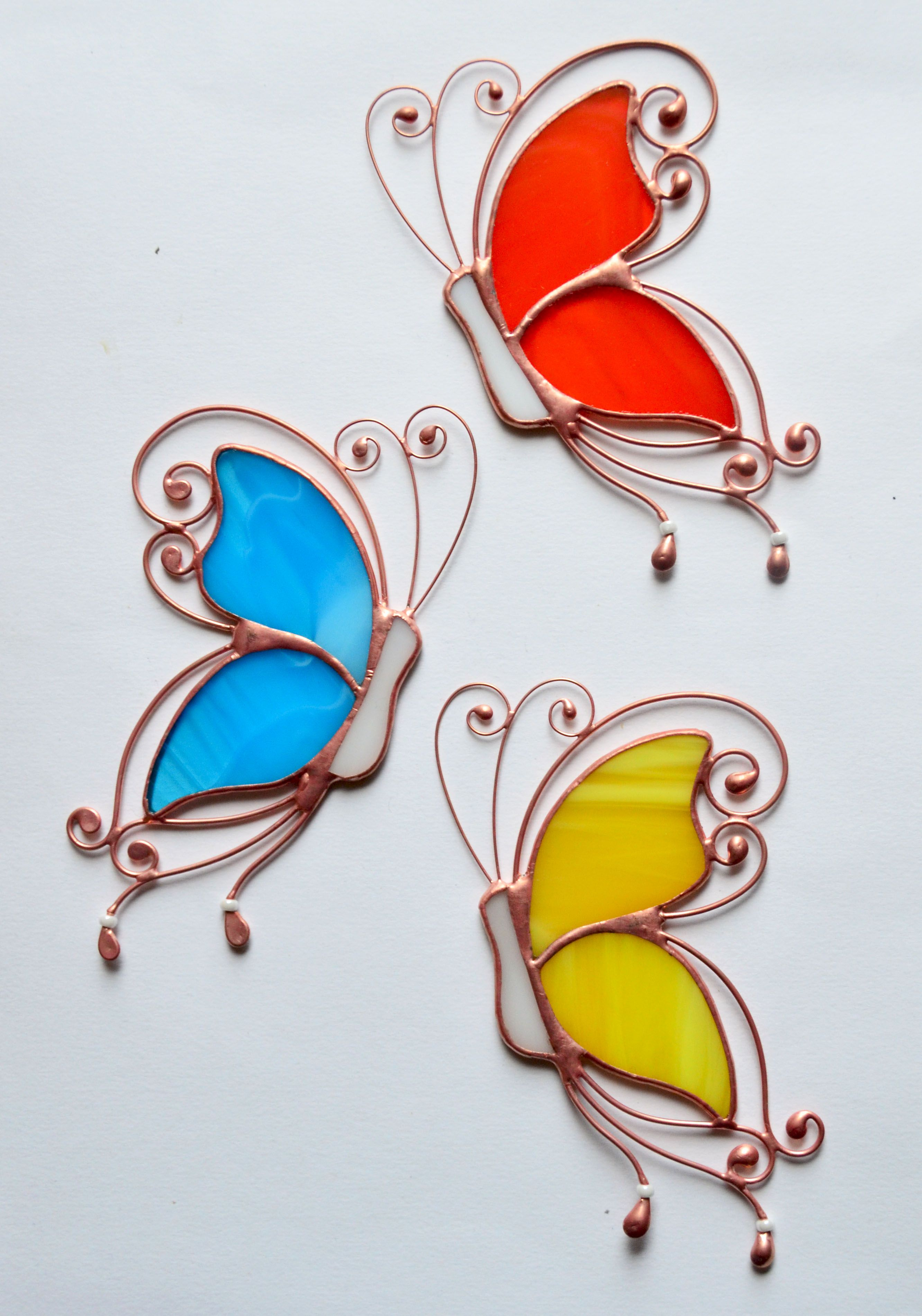 Stained glass butterfly suncatcher, window hanging decoration