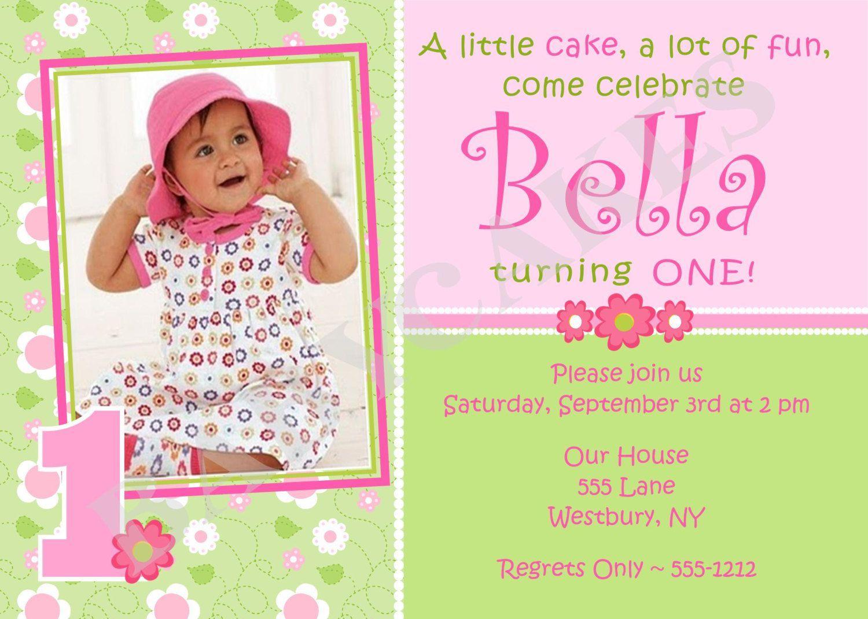 photo card invites 1st birthday invitations girl, Create