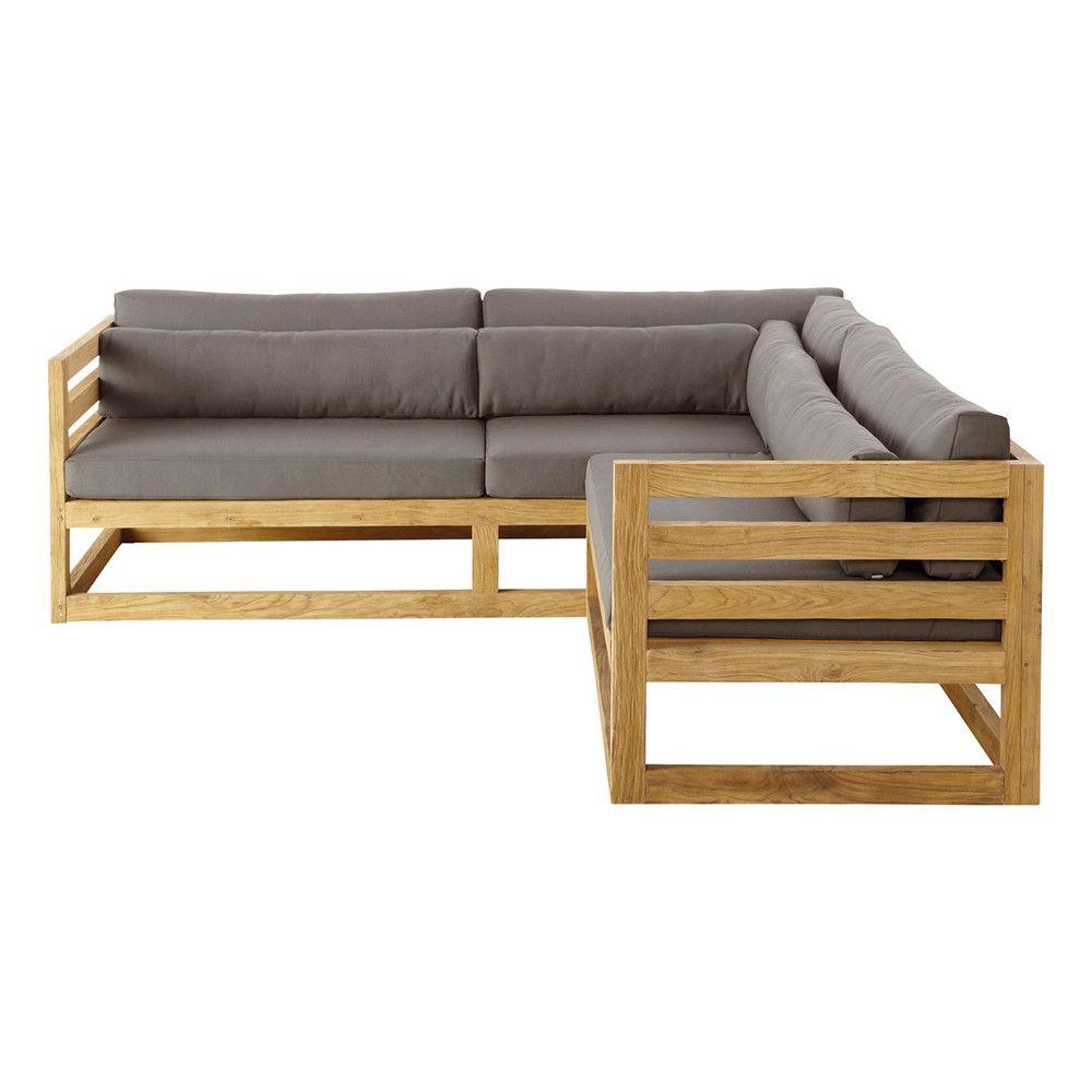 Sofá esquinero de jardín de 3/4 plazas de teca | Porche | Pinterest ...