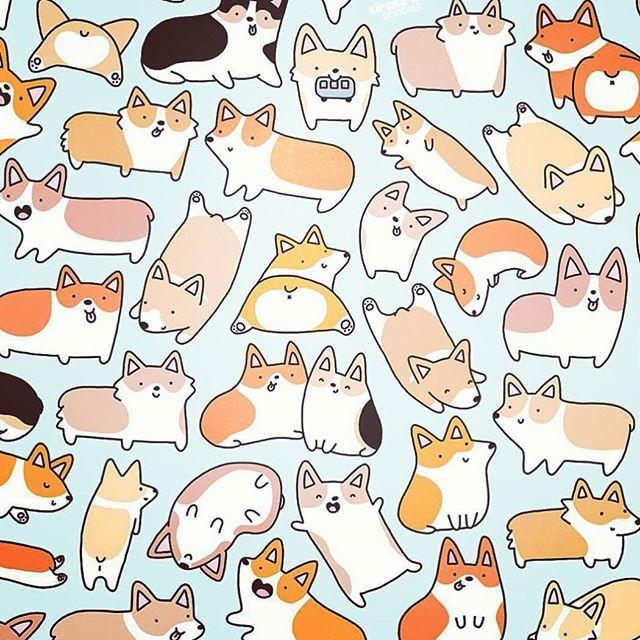 Doggggies Drawing Cartoon Chibi Cute Kawaii Corgi Dog Dogs