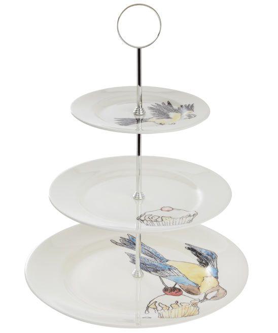 Maison By Premier 3 Tier Ceramic Lace Cake Plate Beautiful Design