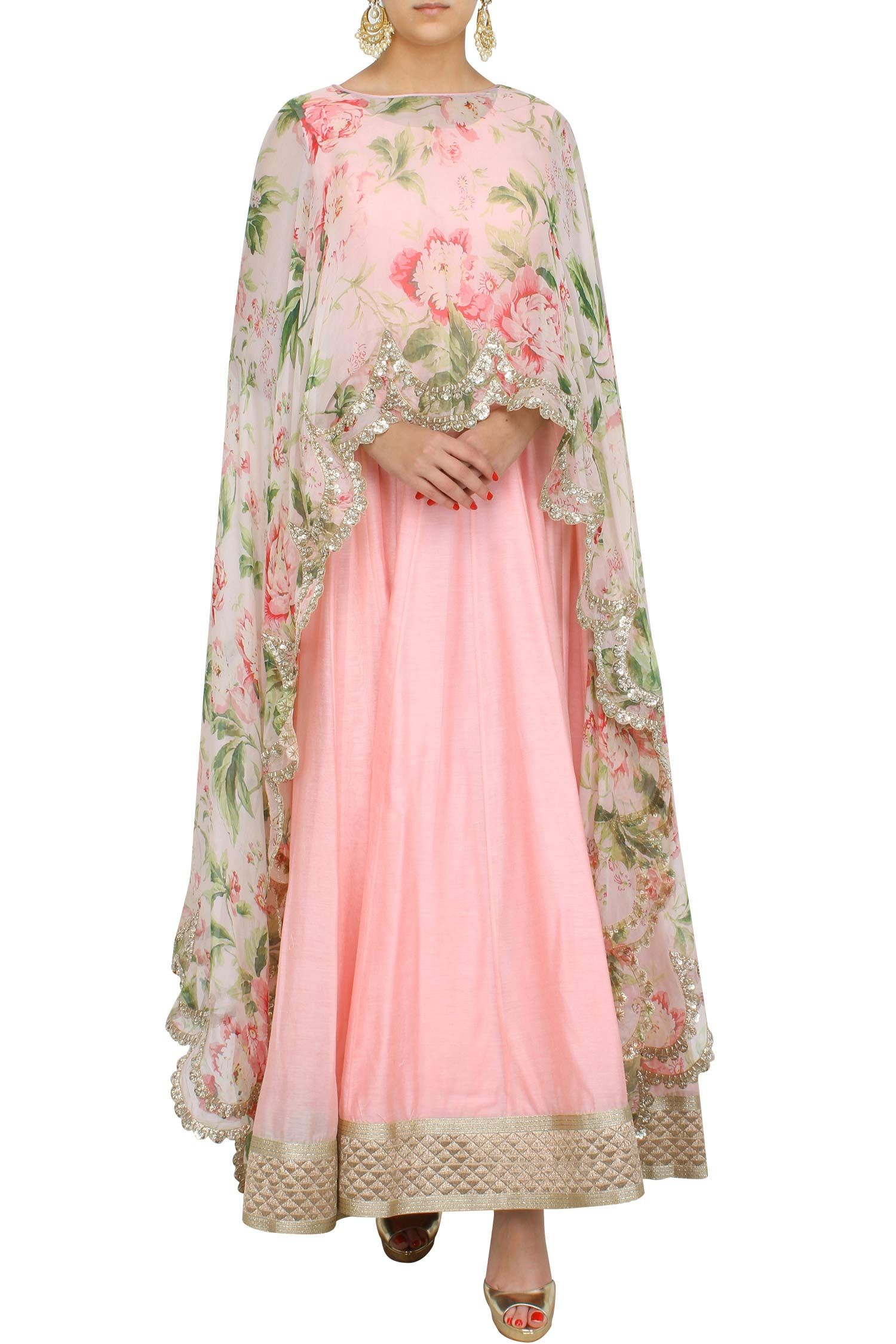 Floral cape with anarkali by anushree reddy dresses for Cape designs