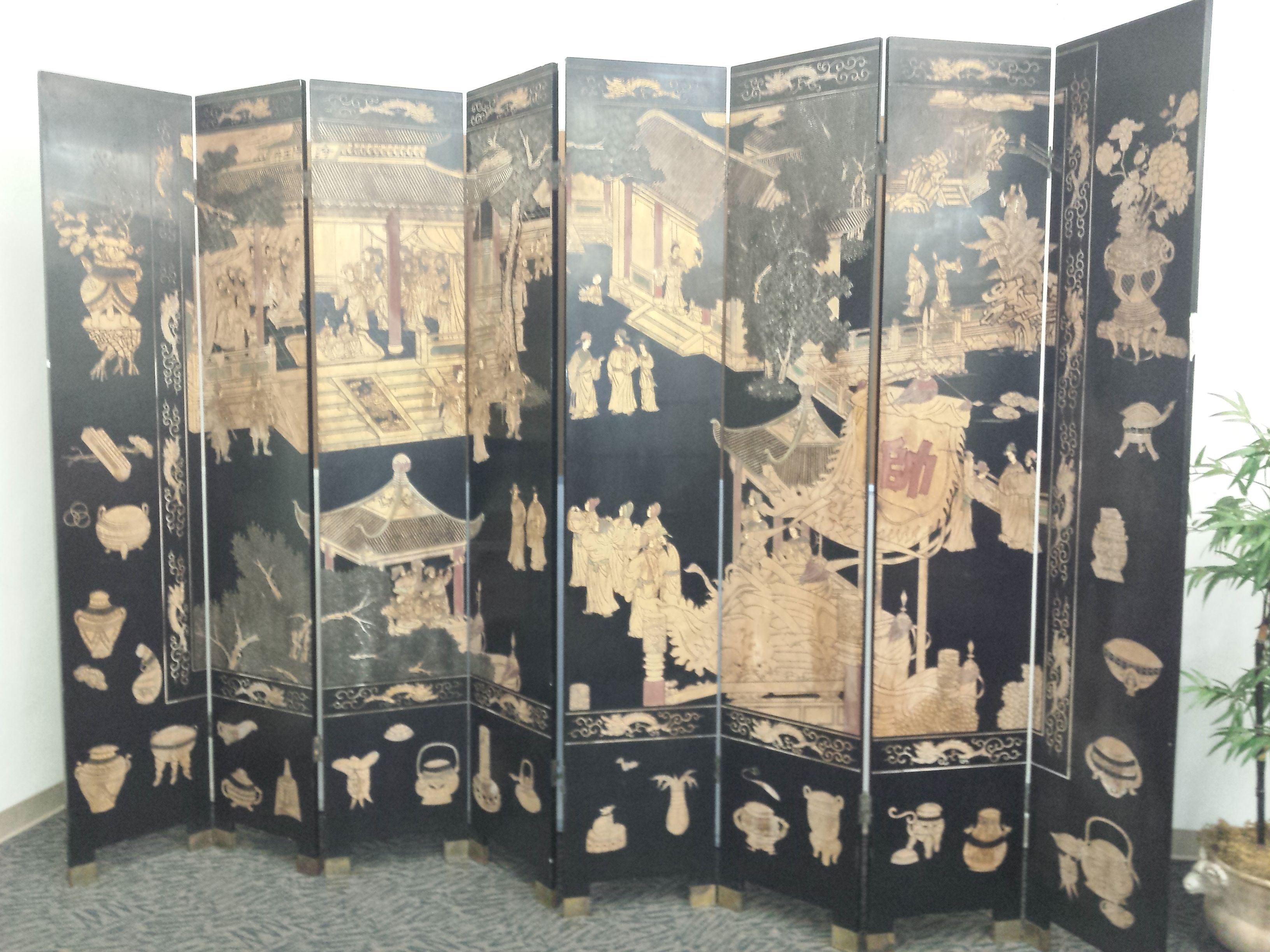 Antique Chinese 8 Panel Carved Lacquered Reversible Room Divider