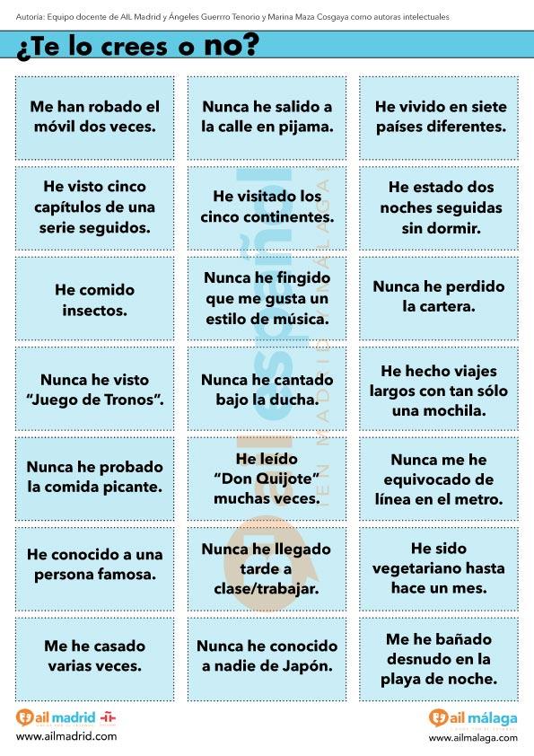 Actividad Para Practicar El Pretérito Perfecto De Subjuntivo Ail Madrid Pretérito Perfecto Verbos En Espanol Español
