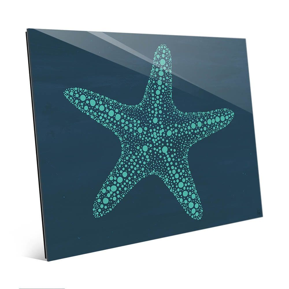 Starfish dots in teal blue wall art print on glass by art and photo
