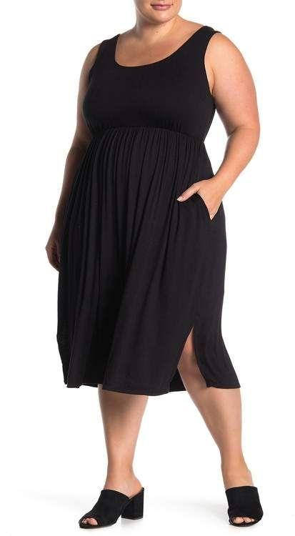 SUPERFOXX | Sleeveless Scoop Neck Midi Dress (Plus Size