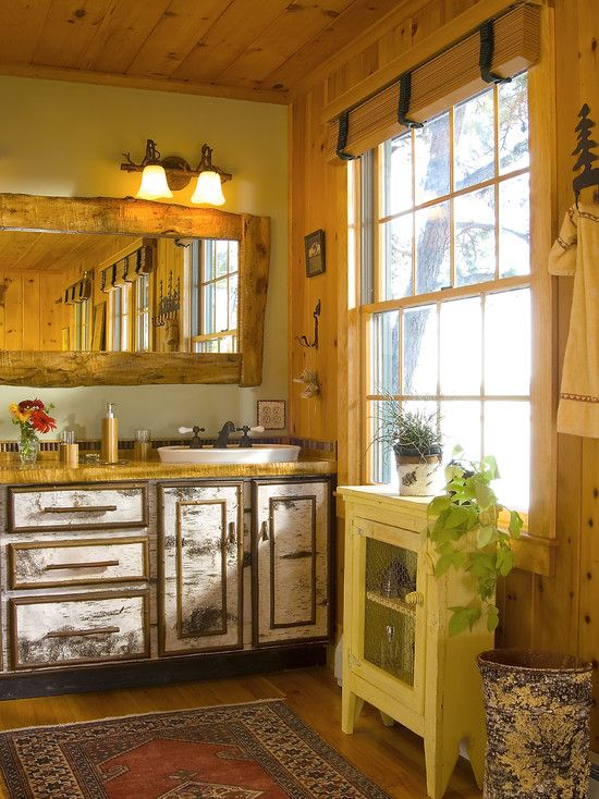 Adirondack Style Double Vanity Is Custom Made With Birch