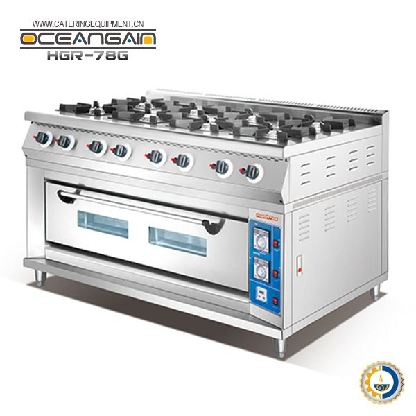 Hgr 78g 8 Burner Commercial Gas Cooker With Gas Oven Gas Cooker Commercial Kitchen Equipment Cooking Supplies