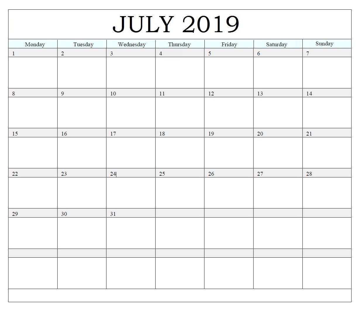 Printable July 2019 Editable Calendar