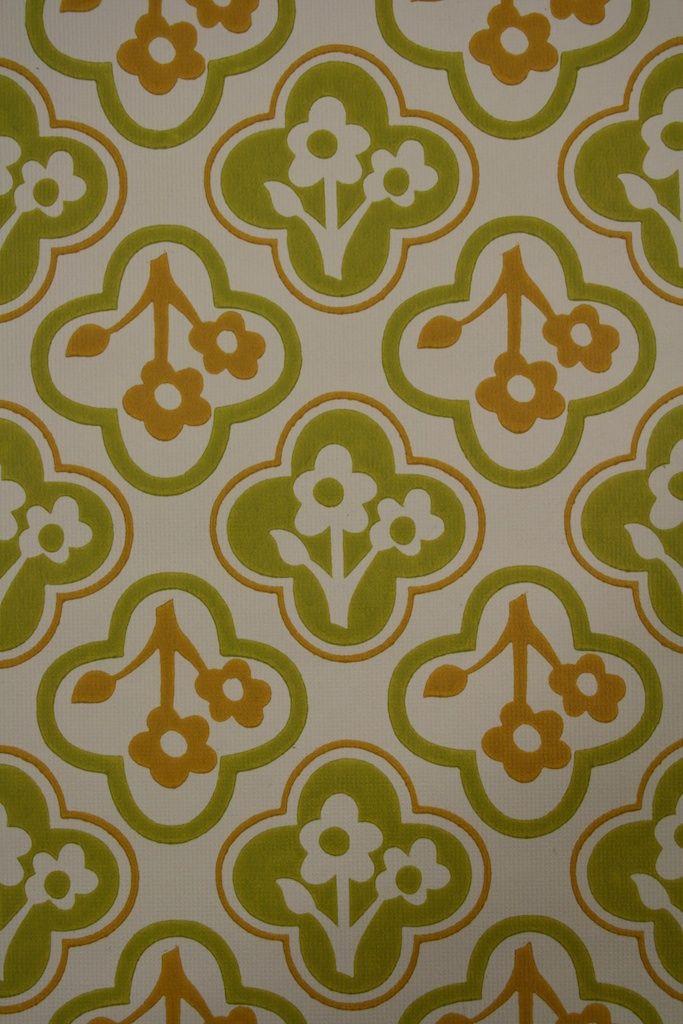 818 Années 60 Rétro Papier Peint Vintage Floral Motif Papier Peint