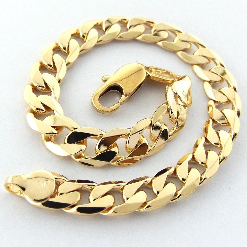 Menus bracelet cuff bangle real k yellow gf gold solid curb