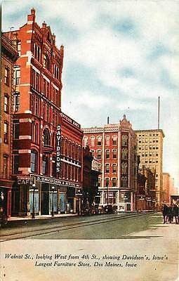 Des Moines Iowa IA 1910 Walnut Street West From 4th Street Vintage Postcard