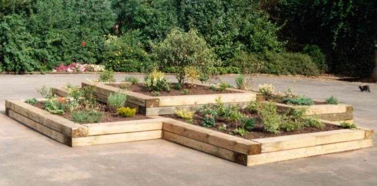 Einfassung Beete Holz Schwellen Schwellen Garten Garten Gartengestaltung