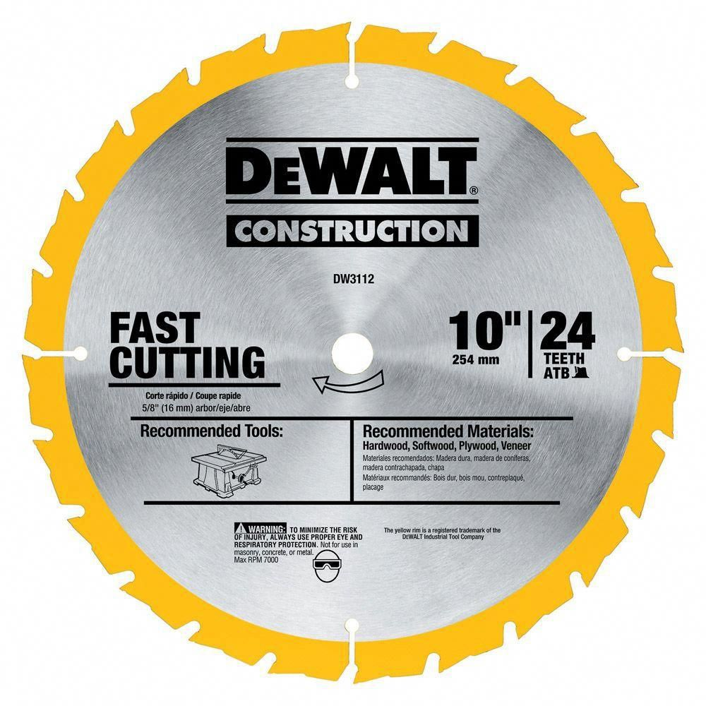 Dewalt Construction 10 In 24 Teeth Thin Kerf Table Saw Blade Tablesaw Table Saw Blades Table Saw Circular Saw Blades