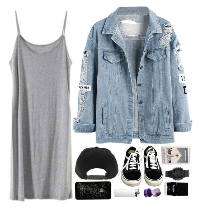 """Shaken and tried"" by theaserr ❤ liked on Polyvore featuring Vans, Casio, Butter London, dress, vans, denimjacket and snapback"