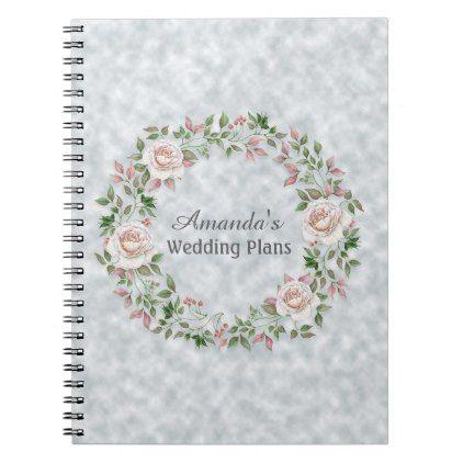 Pink Floral Wreath Wedding Plans Journal - #pink #wedding pink