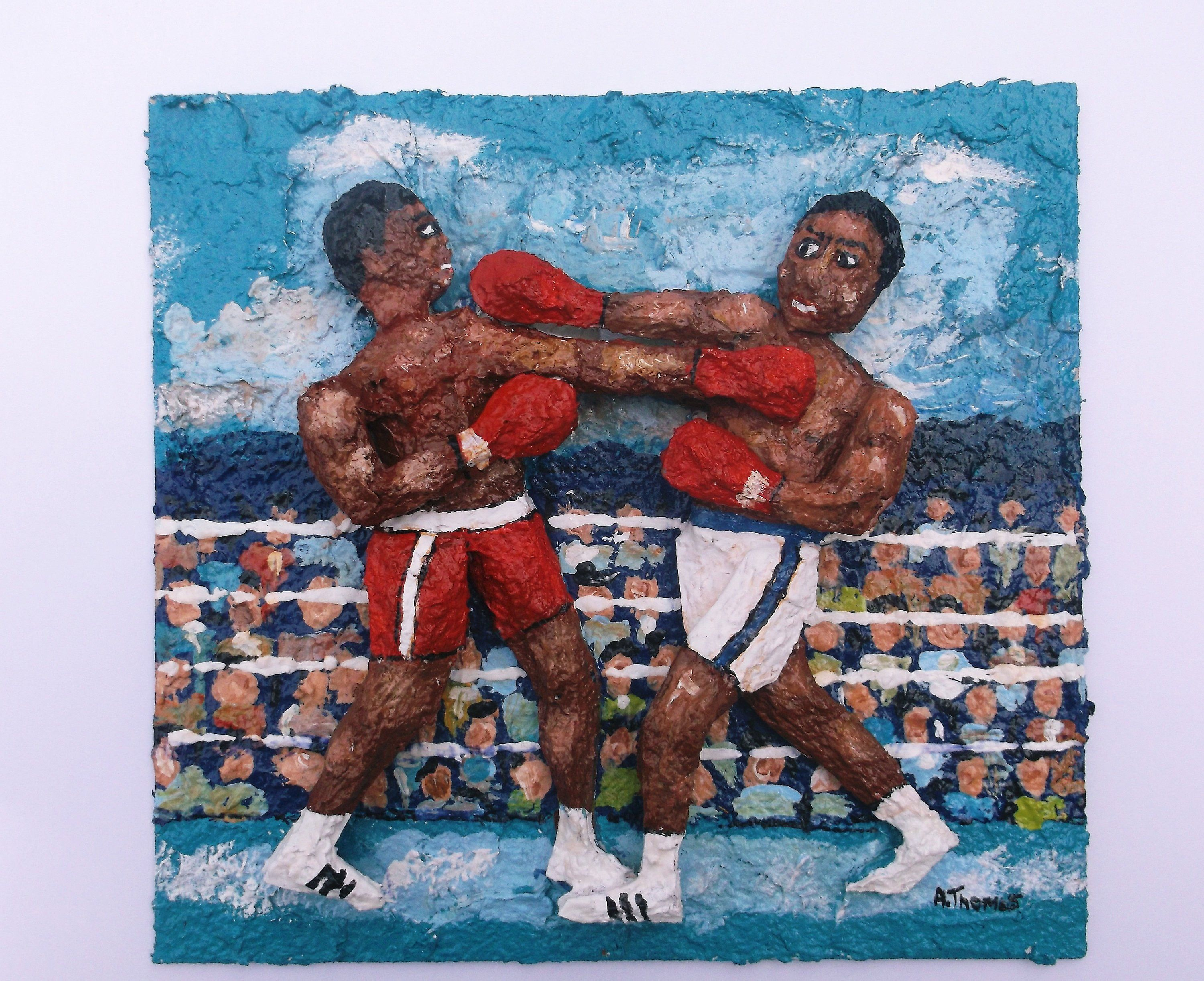 Boxers Original 3d Mixed Media Sports Art Boxing Painting Gift Championship Fighting By Sportsartbyathomas On Etsy Sports Art Painted Boxes Art