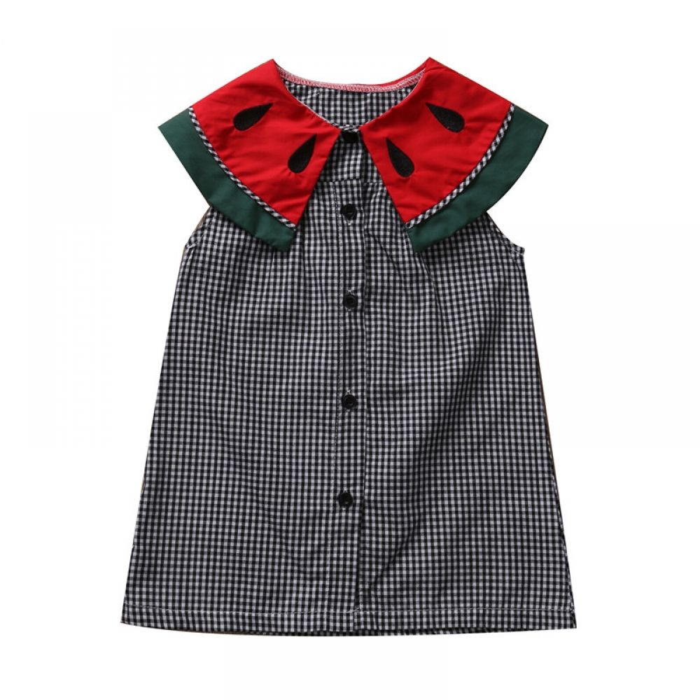 Cute Kids Baby Girl Summer Princess Dress Watermelon Collar Plaids Sleeveless Dresses Party Wedding Button Mini Dress Clothes #babygirlpartydresses