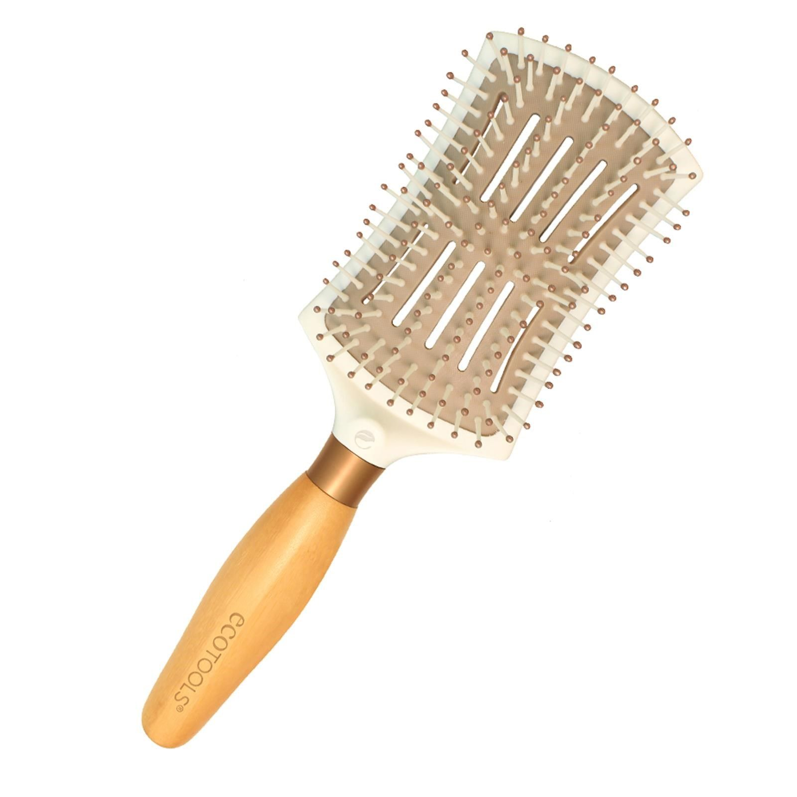 EcoTools, Smoothing Detangler Brush. Dries hair 20% Faster for Less Heat Damage. Smoothing Detangler with unique bristle system quickly smoothes as it gently detangles, leaving hair beautifully healthy.Ultra-lightweight for comfort smoothing and styling. Frizz and static-fighting design