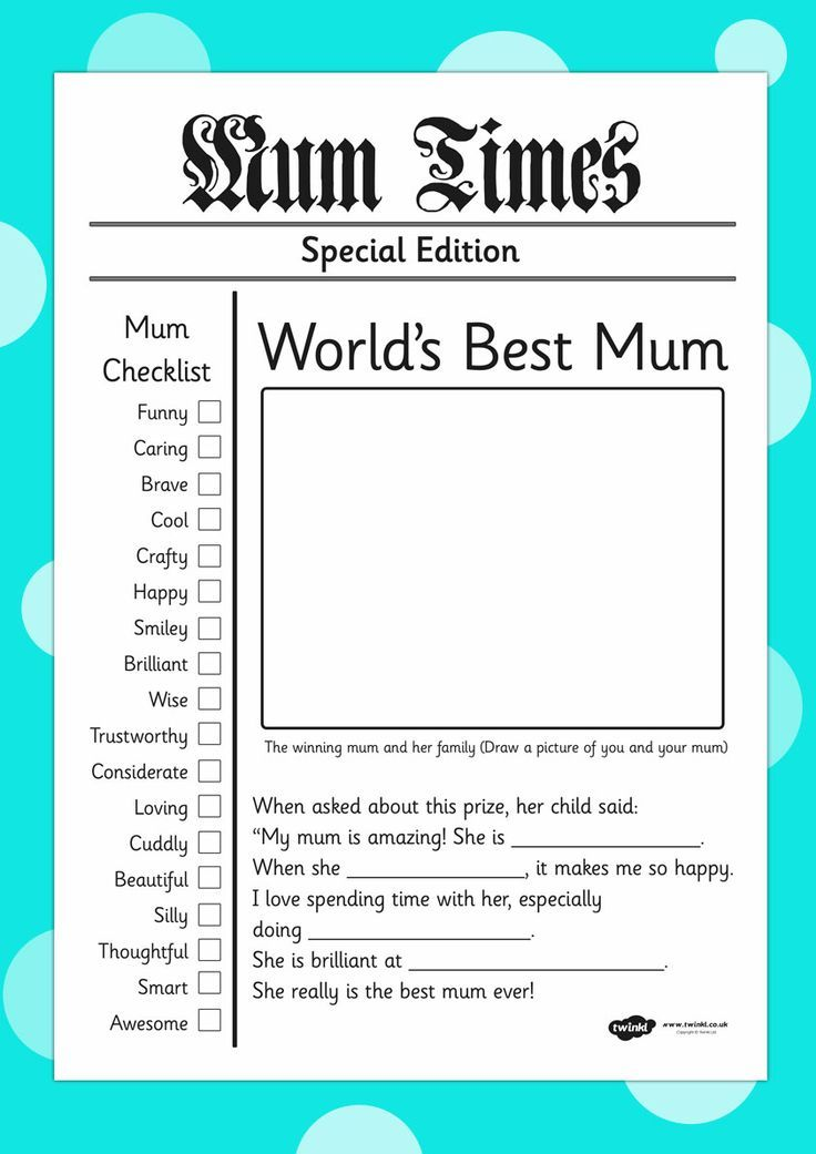 Mother'S Day Newspaper Card Template. Great Teaching Resources For