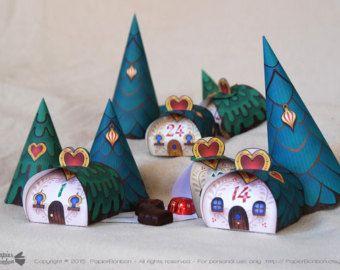 Calendrier de l'Avent à imprimer, Village de Noël de pingouins, d'adorables boîtes cadeau pingouins, igloos, 3 sapins de Noël, Décor de Noël #calendrierdel#39;aventdiy