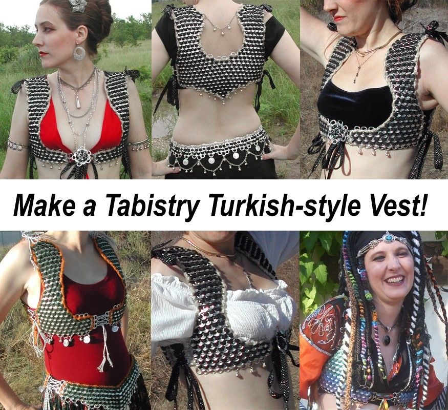 Tabistry Turkish-style Vest Pattern and Instructions. $8.00, via Etsy.--Tabs made into belly dance wear that's quite attractive! Upcycling WIN!