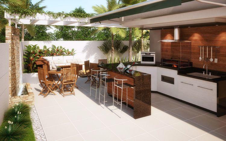 Moderne Sommerküchen : Moderne sommerküche ausrollbare markise sonnenschutz garden