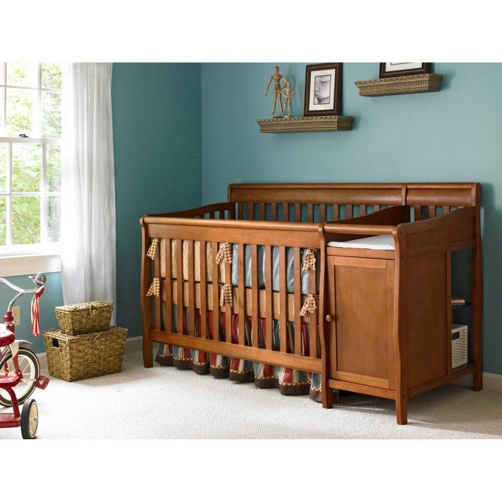 Nursery Rooms. Stunning 3 in 1 Convertible Baby Crib with Changer Combo Features Crafted of Poplar Wood and Two-Position Mattress Support. #Netnoot #ConvertibleCribs #NurseryFurniture