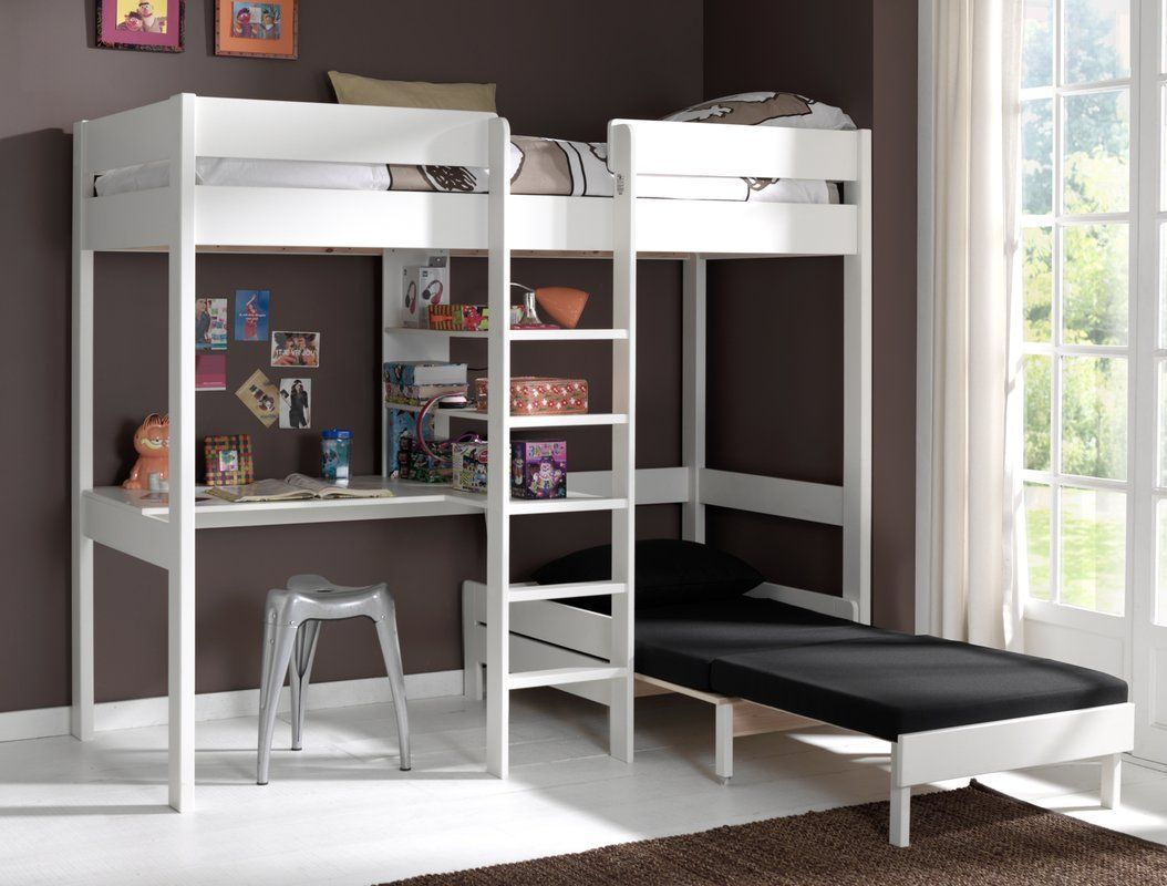 Loft bed with desk and chair  Vipack Pino European Single High Sleeper Bed with Desk and Chair