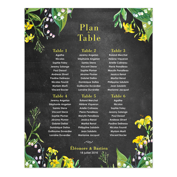 plan de table de mariage champ tre personnalis et imprim impression poster fleur lys et. Black Bedroom Furniture Sets. Home Design Ideas