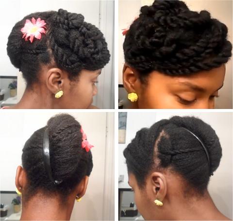 cute banana clip updo on 4c natural hair  4c natural hair