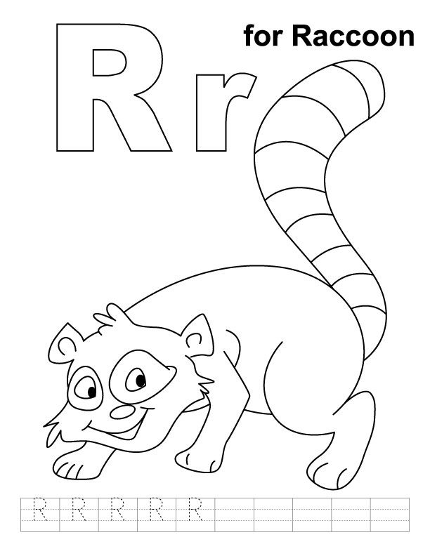 R For Raccoon Coloring Page With Handwriting Practice Download