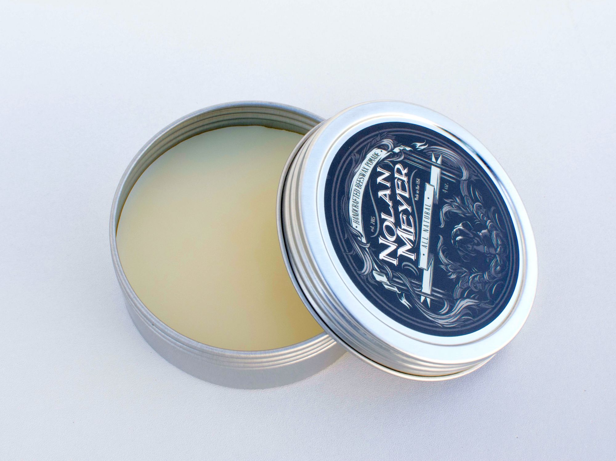 Handcrafted all natural beeswax pomade. $17 for 4oz www.nolanmeyer.com