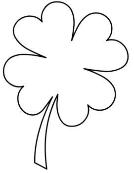 Cute Four Leaf Clover Coloring Pages