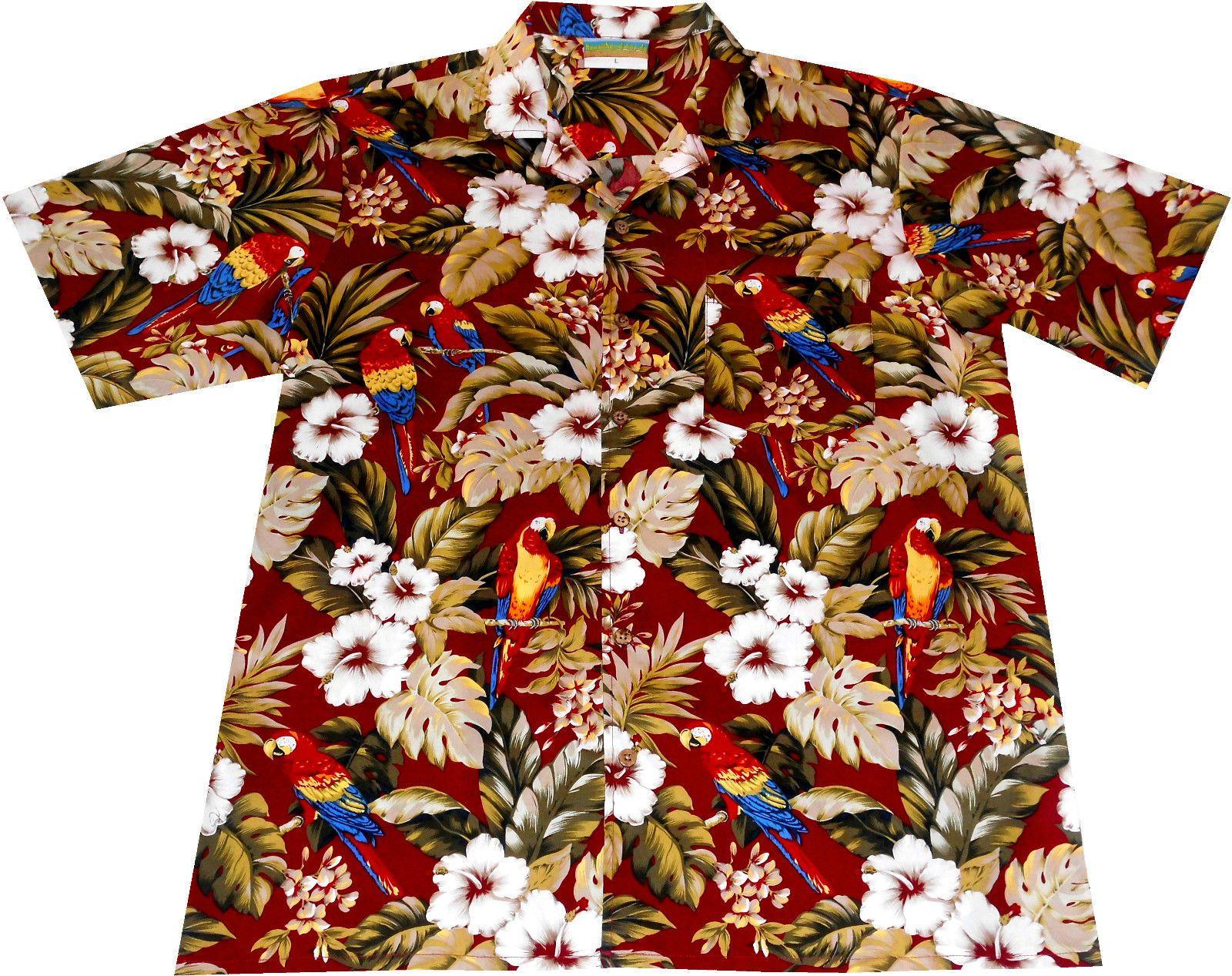 Hawaii Hemd Made in Hawaii Größe S 3XL 100/% Baumwolle Hawaiihemd Blumen rot